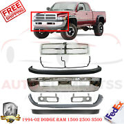Front Bumper Chrome + Grill + Up And Low Cover For 1994-2002 Dodge Ram 1500-3500