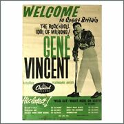 Gene Vincent 1959 Wild Cat Right Here On Earth Capitol Records Promo Poster Uk