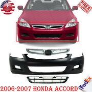 Front Bumper Cover Primed Upper And Center Grille For 2006-2007 Honda Accord Sedan