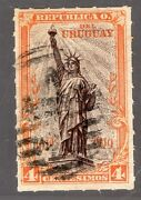 Uruguay Sc218 Rouletted Used X Rare W/ Certificate Statue Of Liberty Lighthouse