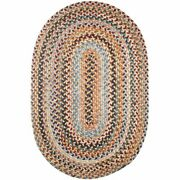 Wool Area Rugs Braided Rug Country Cottage Farmhouse In Blue Red Brown Gold