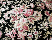 Antique French Floral Cotton Furnishings Fabric Black Raspberry Pink Bordeaux