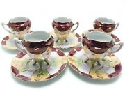 5 Royal Sealy Footed Lusterware Cups And Saucers