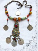 Antique Moroccan Amber Necklace, Coral And Amazonite, Coin Dangles + Pendant