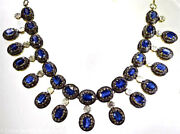 925 Sterling Silver Rose Cut Natural Diamond And Sapphire Victorian Style Necklace