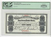 1907 Newfoundland Cash Note Nf-3g Andcent.50 Note Sn 0000 Pcgs Sp-65 Ppq Spec