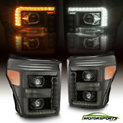 For 11-16 Ford F250/f350/f450/f550 Polished Black Led Drl/sequentia Headlights