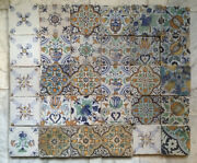 Antique Large Collection Of 30 Early Dutch Delft Maiolica Tiletulips,17th C.