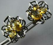 Large 3.80ct Diamond And Citrine 14kt Yellow And Black Gold Flower Clip On Earrings