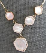 Large Aaa Mother Of Pearl 14kt Rose Gold 3d Multi Hexagon Fun Lariat Necklace