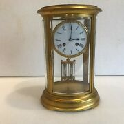 French Oval Four Glass Antique Mantle Clock By Japy Freres