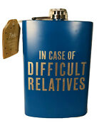 Funny In-laws 8oz Stainless Steel Drinking Whiskey Flask Blue And Silver Humor