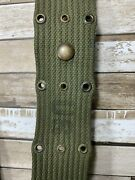 Vintage 1957 Us Military 40 Inch Web Belt With Snap And Buckles Od Green