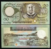 Tonga 50 Paanga P-36 1995 King Ship Boat River Unc Pacific Currency Money Note