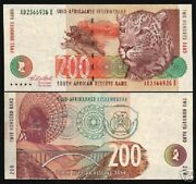 South Africa 200 Rand P-127 A 1994 Leopard Dish Antena Unc Currency Rare Note