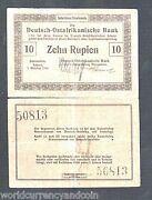 German East Africa 10 Rupees P39 1915 Si Rare World Germany African Bank Note