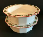 Porsgrund Norway Hearts And Pines 2 Octagonal Rim Cereal Bowl Multisided 6