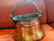 Antique Hammered Riveted Copper Fireplace Bucket Planter Ice Chest
