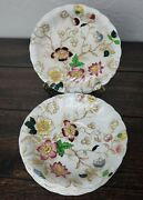 8 Dorchester Burleigh Ware Burgess And Leigh Jacobean Floral Pattern Saucers