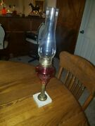 Sandwich Glass Cranberry Cut To Clear Oil Lamp 11 Tall Marble Base 2
