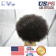 Ultra Thin Skin Afro Toupee For Black Men Curly Human Hairpiece African American