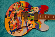 Cool Let It Be Epiphone Casino Guitar With Vintage Hand Painted Vinyl Lp Design