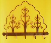 Awesome 18th Century Antique Wrought Iron Kitchen Rack With Hooks Scrolls 24