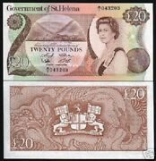 St.helena 20 Pounds P-10 1986 Ship Queen Lion Unc Angliae Currency Money Gb Note