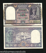 India 10 Rupees P-24 1943 Running Pair 2 Pcs King George Boat Unc Indian Note