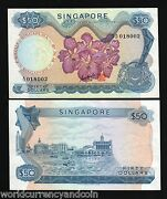 Singapore 50 Dollars P-5 B 1970 Boat Orchid Gks Rare Sign Aunc Money Bank Note