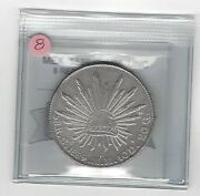1889 Camm Mexico Silver 8 Reales Coin Mart Graded Unc Cleaned 8