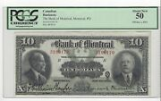 1923 Bank Of Montreal 10 Note Wil/mer Cat56-04 Sn 3196170 Pcgs Au-50