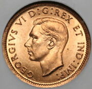 1939 Ngc Ms 64 Rd Canada 1 Cent George Vi Mint State Red Coin 20030203c