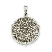 925 Sterling Silver Antiqued Tibet Tanka Coin Reversible Pendant Ancient Coin