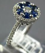 1.01ct Diamond And Aaa Sapphire 18kt White Gold 3d Round Flower Halo Filigree Ring