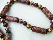 Antique Chinese Shou Beads Jasper, Red Jade And Old Cloisonne Beads Necklace