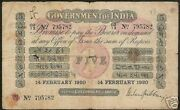 India 5 Rupees P A6g 1918 Un Recorded Date Uni Face Gubbay King Money Banknote