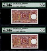 Bhutan 5 Nu P2 1974 1st Issue Rare Consecutive Pair Aunc Pmg Currency X 2 Note