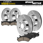 Front+rear Brake Rotors +carbon Ceramic Pads For 10 - 16 Chevy Equinox Terrain