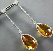 Extra Large 24.75ct Diamond And Aaa Citrine 14k White Gold Flower Hanging Earrings