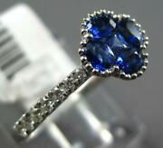 .84ct Diamond And Aaa Sapphire 18kt White Gold 4 Leaf Clover Invisible Flower Ring