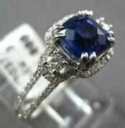 1.45ct Diamond And Aaa Sapphire 14k White Gold 3d Cushion Filigree Engagement Ring