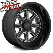 24 Inch 24x12 Moto Metal Mo801 Phantom Black Gray 4 Wheels 8x6.5 8x165.1 -44