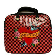 Betseyville By Betsey Johnson Laptop Floral Portfolio Black Red Checkered Bag