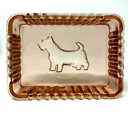 Scottish Terrier Depression Glass Butter/candy Dish 5 1/4 X 3 3/4
