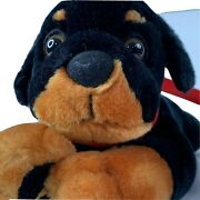 Classic Toy Co. Black Dog Rottweiler Plush Dog 18 Stuffed Animal With Red Leash