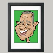 16 X 12 Colour Print - 1 Person Digital Caricature From Photo - Personalised