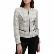 Dkny New Womenand039s Printed Faux-leather Trim Zip-up Jacket Top Tedo