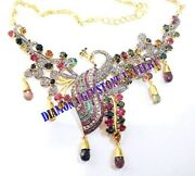 925 Sterling Silver Diamond Necklace Rose Cut Victorian Style Tourmaline Jewelry