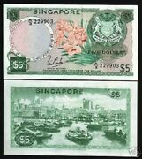 Singapore 5 Dollars P2 C 1972 Boat Orchid With Out Seal Rare Unc Money Bank Note
